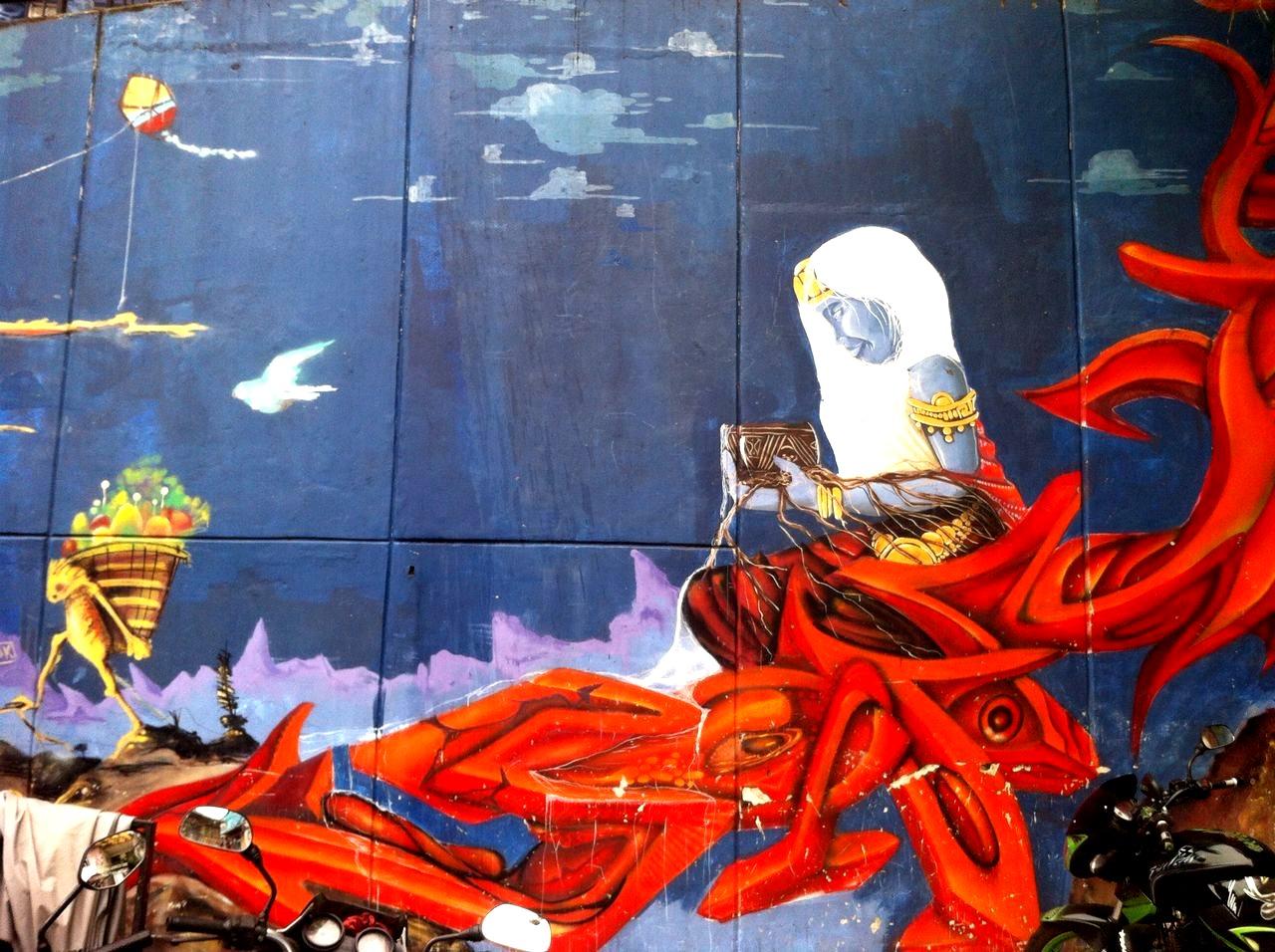 El Mural 'Abundancia' fue hecho por jóvenes grafiteros del barrio unidos al veterano pintor y maestro antioqueño Aníbal Gil.