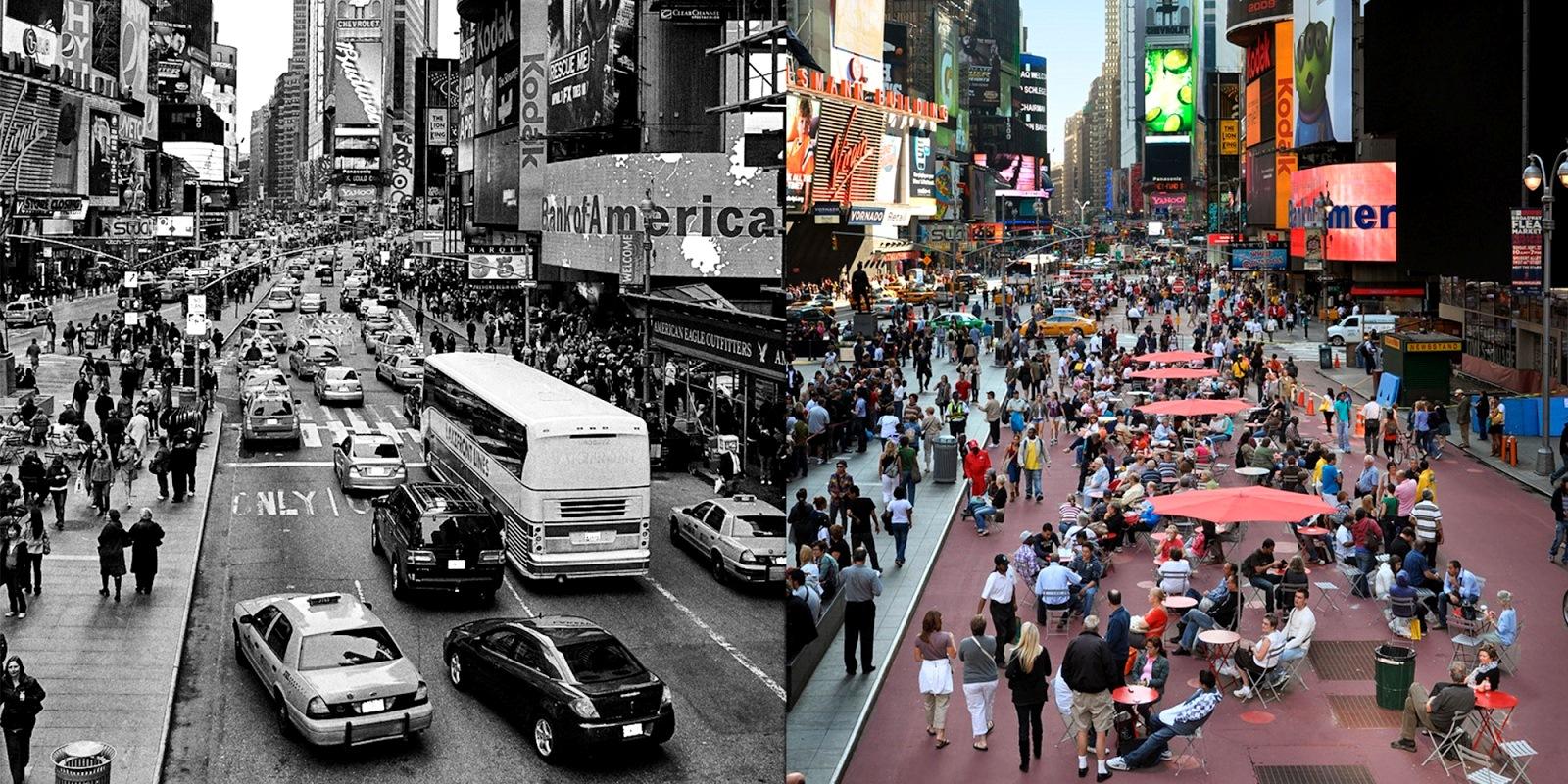 Uno de los ejemplos más emblemáticos de urbanismo táctico en el mundo es el de Times Square, en Nueva York. En una noche de 2009 se incorporaron jardineras, silletería de fácil instalación y se cerró completamente el tráfico vehicular. Ahora los peatones disfrutan de un espacio público regenerado. Foto: paisajetransversal.org