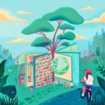 Alyssa Babasa es una artista que vive en Ciudad Quezón, la ciudad más poblada de Filipinas. Quiso plasmar en su ilustración el valor que para ella tienen las bibliotecas, las que considera santuarios para el aprendizaje y el progreso. Por eso la imagen de una biblioteca abierta a la gente es su modelo de futuro.