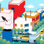 La ilustración de Reya Ahmed, artista de Calcuta (India), propone taxis que se mueven con energía limpia, edificios que usan energía para manejar los residuos sólidos y producen agua, cosas muy distintas de las que se observan hoy en su ciudad natal.