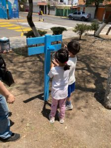 Las niñas y niños participaron en la rehabilitación de su parque Valle de México en Cuautitlán Izcalli, Estado de México. Abril, 2021.