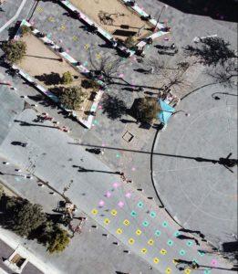 Táctica de redícula responsable en calles del centro histórico de Ciudad Juárez, México. Enero, 2021.